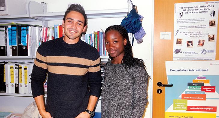 PelumiOlusanya, a German student mentors Saleh Shehada, a Syrian student from Aleppo