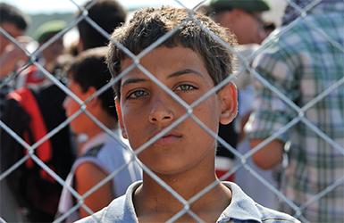 A boy looking through a fence