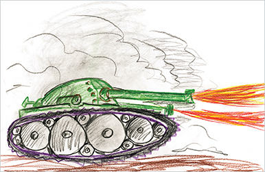 A drawing of a tank firing.
