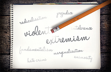 A note book with words related to violent extremism